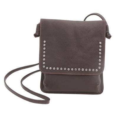 Espresso Brown Leather Brass Accent Rectangular Sling