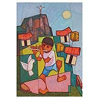 'Dove of Peace and Boy Pied Piper' - Signed Expressionist Painting of a Young Flautist and a Dove