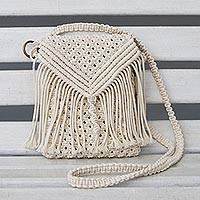 Cotton sling, 'Ivory Macrame' - Hand-Macrame Ivory Cotton Sling from Brazil