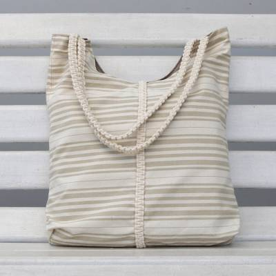 Cotton tote, 'Two-Tone Stripes' - Antique White and Sage Striped Cotton Tote from Brazil
