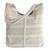Cotton tote, 'Two-Tone Stripes' - Antique White and Sage Striped Cotton Tote from Brazil (image 2a) thumbail