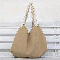Cotton tote, 'Four Points' - Golden Brown Cotton Tote with Macrame Straps from Brazil