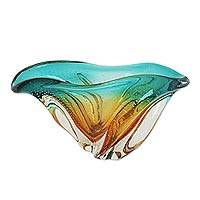 Art glass decorative bowl, 'Fascinating Splash' - Art Glass Decorative Bowl in Amber and Blue from Brazil