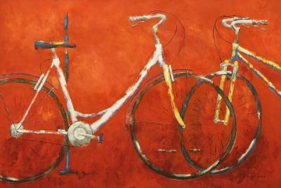 'Any Day, Any Time' (2018) - Signed Impressionist Painting of Bicycles on Orange (2018)