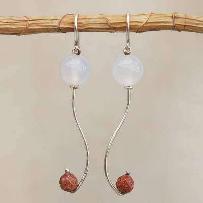 Agate and sunstone dangle earrings, Music Within