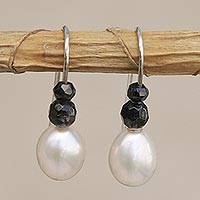 Cultured pearl and agate beaded drop earrings, 'White and Black' - Cultured Pearl and Black Agate Beaded Drop Earrings