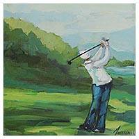 'Golfer I' - Impressionist Painting of a Golfer in White from Brazil