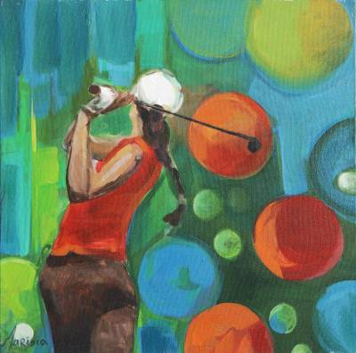 'The Champion' - Signed Expressionist Golf Painting from Brazil