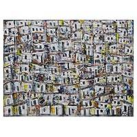 'A Day in the Community' - Colorful Signed Expressionist Painting from Brazil