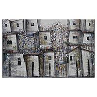 'Community Houses' - Signed Expressionist Cityscape Painting in Grey from Brazil
