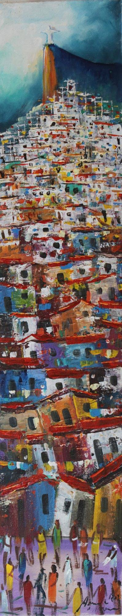 'Night in the Village' - Signed Painting of Rio de Janeiro from Brazil