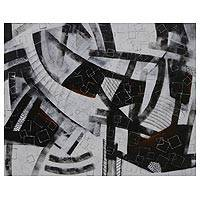'Square World' - Signed Black and White Modern Abstract Painting from Brazil