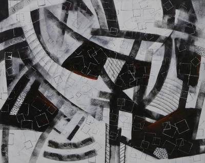 Signed Black And White Modern Abstract Painting From Brazil Square World