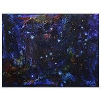 'Orion Constellation' (2019) - Signed Blue Abstract Painting from Brazil