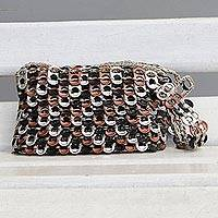 Soda pop-top wristlet, 'Eco Chevrons' - Chevron Pattern Aluminum Soda Pop-Top Wristlet from Brazil