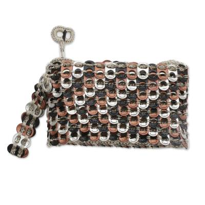 Chevron Pattern Aluminum Soda Pop-Top Wristlet from Brazil