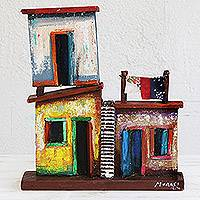 Recycled wood sculpture, 'Brazilian Lofts' - Brazilian Favela Sculpture Made from Recycled Wood