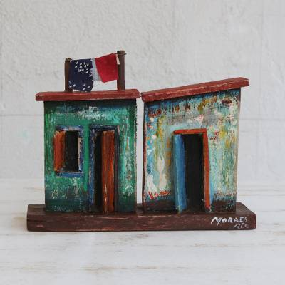 Recycled wood sculpture, 'Favela Doors' - Brazilian Favela Sculpture Made from Recycled Wood
