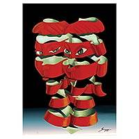Print, 'Masks' - Signed Surrealist Print of a Couple in Red from Brazil