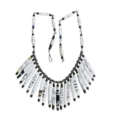 White Recycled Paper and Hematite Waterfall Necklace