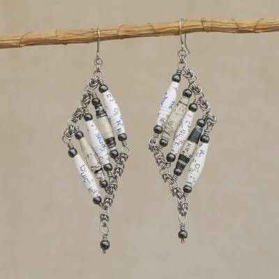 Recycled paper and hematite dangle earrings, 'Tribal Links in White' - Recycled Paper and Hematite Dangle Earrings in White