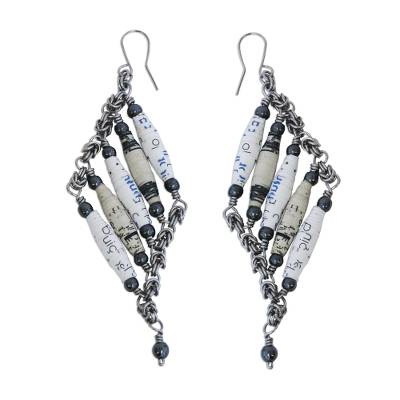 Recycled Paper and Hematite Dangle Earrings in White