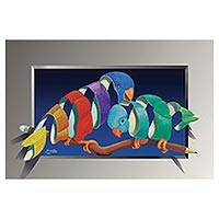 Print, 'Parakeets' - Colorful Surrealist Print of Two Parakeets from Brazil