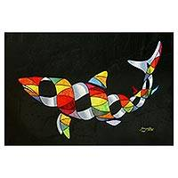 Canvas print, 'Colorful Shark' - Colorful Surrealist Shark-Themed Print from Brazil