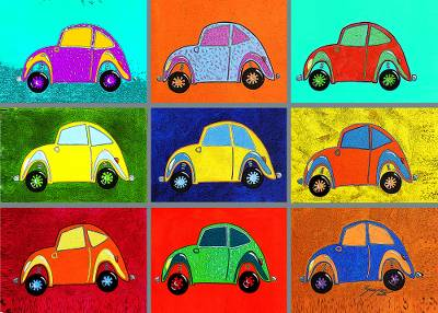Canvas print, 'Beetles' - Colorful Beetle Car Pop Art Print from Brazil