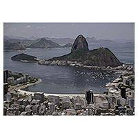 Canvas print, 'Sugarloaf Hill' - Signed Impressionist Canvas Print of Brazil's Sugarloaf Hill