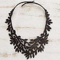 Leather collar necklace, 'Brazilian Foliage in Espresso' - Leaf Motif Leather Collar Necklace in Espresso from Brazil