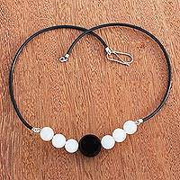 Agate beaded pendant necklace, 'Black and White Baubles' - Black and White Agate Beaded Pendant Necklace from Brazil
