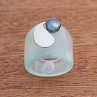 Agate and cultured pearl band ring, 'Cool Abstraction' - Abstract Agate and Cultured Pearl Band Ring from Brazil