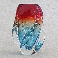 Art glass vase, 'Blue and Red Twist' - Blue and Red Handblown Art Glass Vase from Brazil
