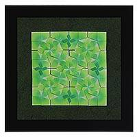 Paper wall art, 'Green Geometry' - Geometric Origami Paper Wall Art in Green from Brazil