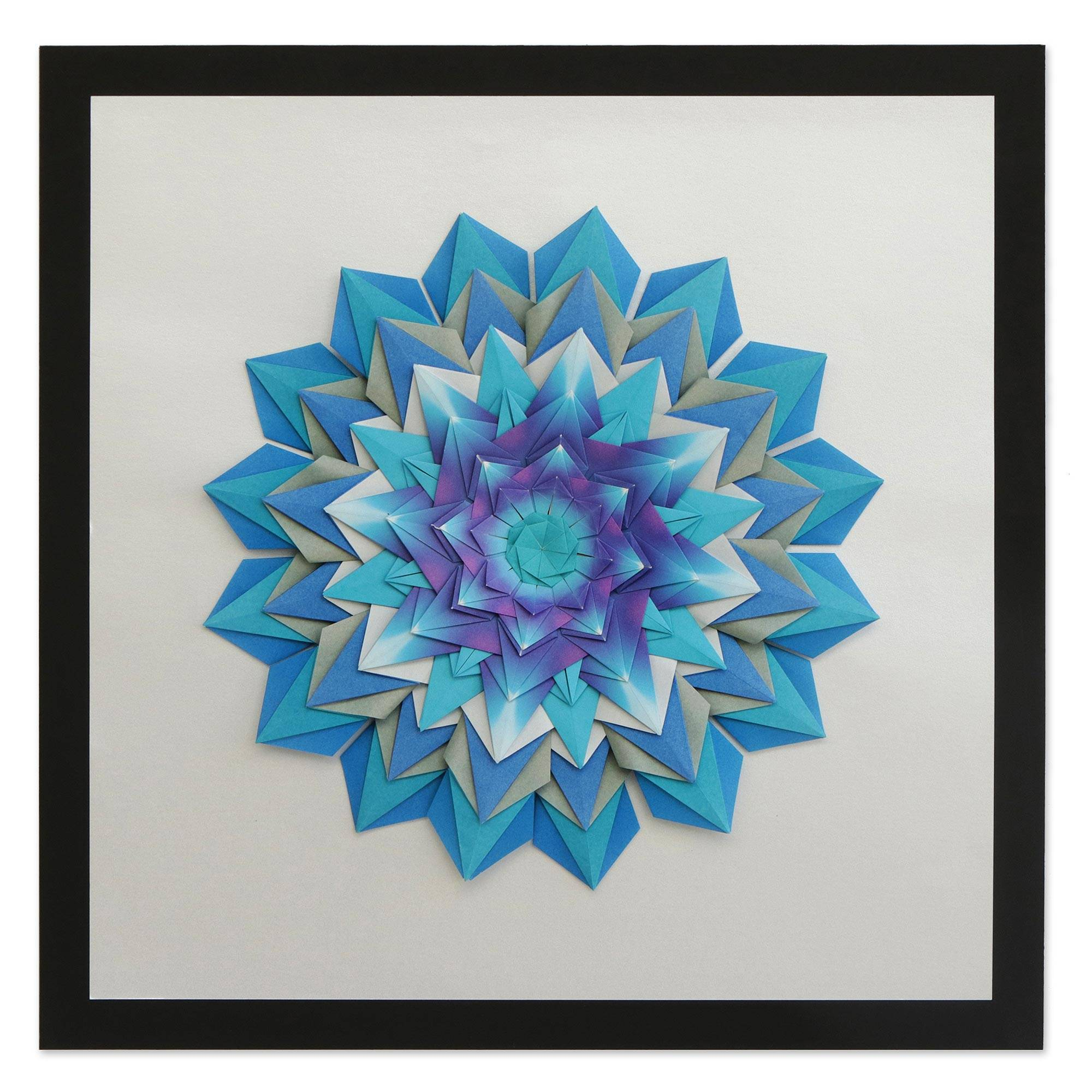 Blue Origami Paper Mandala Wall Art From Brazil Cool Mandala