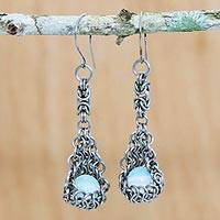 Moonstone dangle earrings, 'Moonlight Hammocks' - Chain Link Moonstone Dangle Earrings from Brazil