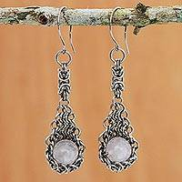 Rose quartz dangle earrings, 'Gemstone Cradle' - Rose Quartz and Stainless Steel Dangle Earrings from Brazil