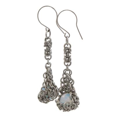 Rose Quartz and Stainless Steel Dangle Earrings from Brazil