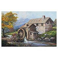 'The Watermill' - Signed Impressionist Painting of a Watermill from Brazil