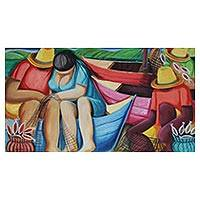 'Fishing Couple and Friends' - Signed Expressionist Fishing Painting from Brazil