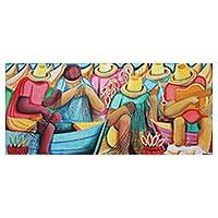 'Musical Fishing' - Signed Expressionist Musical Fishing Scene from Brazil