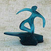 Resin sculpture, 'The Athlete' - Abstract Fine Art Blue Resin Sculpture of an Athlete