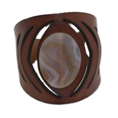 Brown Agate and Leather Wristband Bracelet from Brazil