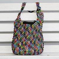 Recycled aluminum pop-top shoulder bag, 'Eco Rainbow'