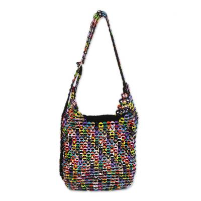 Recycled aluminum pop-top shoulder bag, 'Eco Rainbow' - Multicolored Recycled Aluminum Pop-Top Shoulder Bag