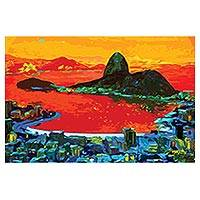 Print, 'Sugarloaf Hill by Sun' - Sugarloaf Hill Impressionist Print in Red from Brazil
