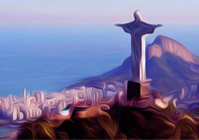Print, 'Christ the Redeemer' - Signed Impressionist Print of Christ the Redeemer