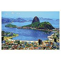 Print, 'Sugarloaf Hill at Dawn' - Sugarloaf Hill Impressionist Print in Blue from Brazil
