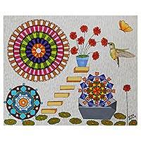 'Recycling' - Mandala Motif Surrealist Painting from Brazil